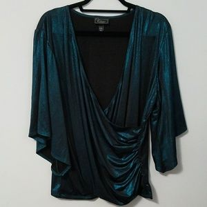 Gorgeous Dressbarn metallic teal top, 18/20